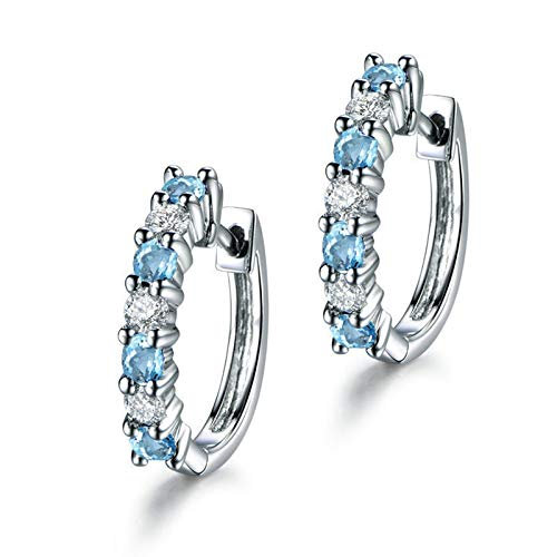 Adokiss Pendientes 925 para mujer, redondos, brillantes, 3 x 3 mm, topacio azul, plata, regalo de cumpleaños para novia