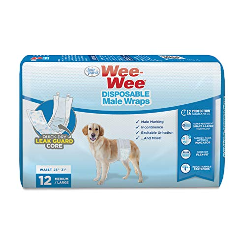 Wee-Wee Products Disposable Male Dog Wraps (12 Pack), Medium/Large