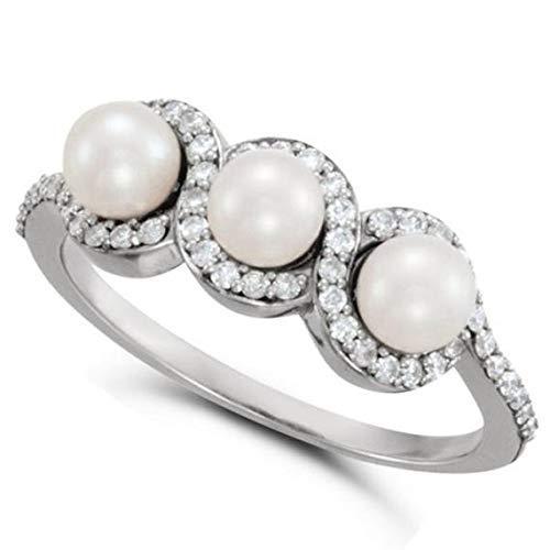 Anillo de perlas de agua dulce con diamante Halo de oro blanco de 14 k 4.5 mm 0.25ct, anillo de compromiso de oro para siempre, anillo de bodas, anillo de oro de promesa