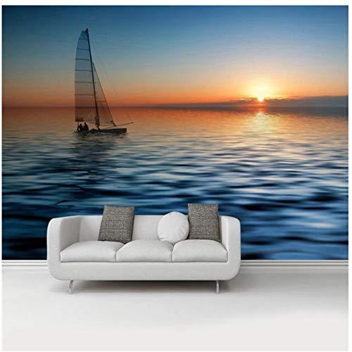3D-Fototapete mit natürlichem Sonnenuntergang und Segeln, für Wohnzimmer, Schlafzimmer, Wände, Heimdekoration, individuelle 3D-Fototapete