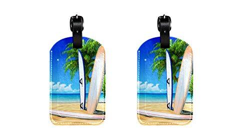 Gepäckanhänger aus PU-Leder mit Surf-Skateboard-Druck, Namensschilder für Reisetasche, Gepäck, Koffer mit Sichtschutz auf der Rückseite, 2 Stück