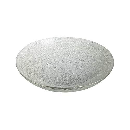 Centro de Mesa Plato Blanco y Plateado de Cristal de 6x30x30 cm - LOLAhome