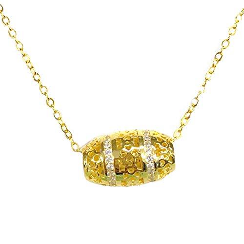 WDBUN Collar Colgante Collar de paspartú de Diamantes, Cadena de clavícula Femenina, trébol de Cuatro Hojas Hueco, Colgante de Oliva, Collar, joyería de Cuentas de Transferencia