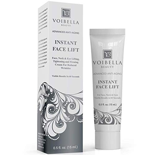 Instant Face Lift Cream - Best Eye, Neck & Face Tightening, Lifting & Firming Serum To Smooth Appearance of Loose Sagging Skin, Puffiness, Fine Lines & Wrinkles Within 1 Minute (Peptides & Stem Cells)