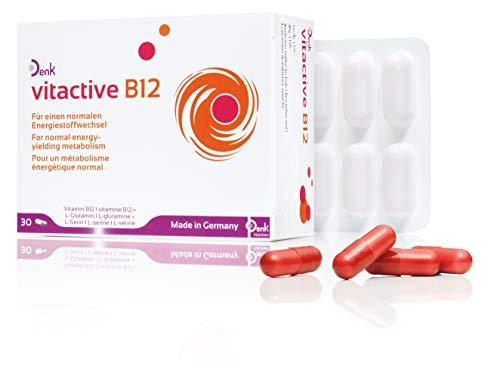 vitactive B12 Denk - Vitamin B12, L-Glutamin und L-Serin - 30er Packung - Für mehr Power, Leistung und Konzentration