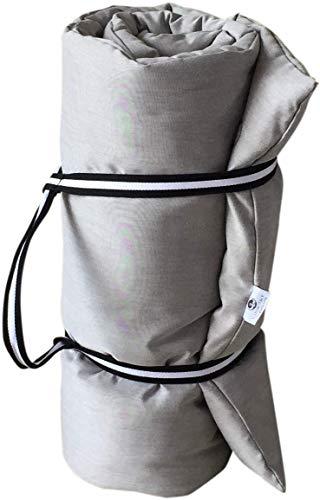 Futon Italy - Futon 65x200x8 cm, Pieghevole e trasportabile, per shiatsu, Yoga e Massaggio in Puro Cotone + Cintura Yogi (Ecrù)