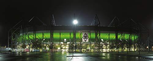 Blue-Letter Mönchengladbach Jumbo Stadion Panorama - hochwertiger FineArtPrint (120 cm x 50 cm)