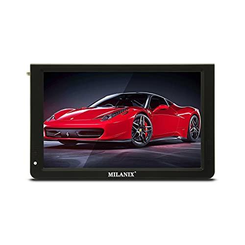 """Milanix 12.1"""" Portable Widescreen LED TV with HDMI, VGA, MMC, FM, USB/SD Card Slot, Built in Digital Tuner, AV Inputs, and Remote Control"""