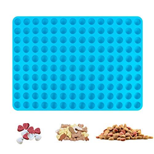 CS COSDDI Silikon Backmatte Backform für Hundekeks, 2cm Halbkugel Silikonmatte mit Noppen - 140er Backform für Hundekekse & Hundeleckerlies Backpapier Backunterlage Pralinenform, 38x28cm Blau, Kreis