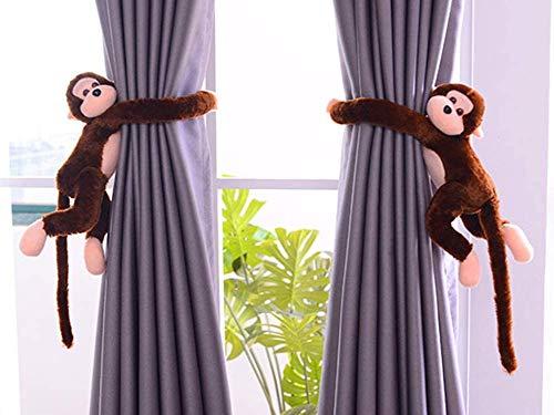 2 alzapaños para cortinas, diseño de mono o mono, para habitación infantil, salón, ventana, peluche, marrón oscuro, Singe