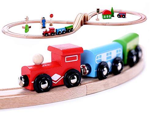 Premium Wooden Train Set Toy, 30pcs...