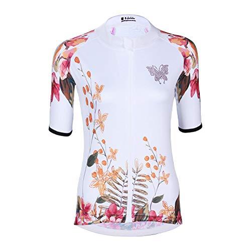 DuShow Damen-Fahrradtrikot, kurzärmlig, atmungsaktiv, Schmetterling, Weiß, Damen, DuShow-517-White-L, weiß, UK-L