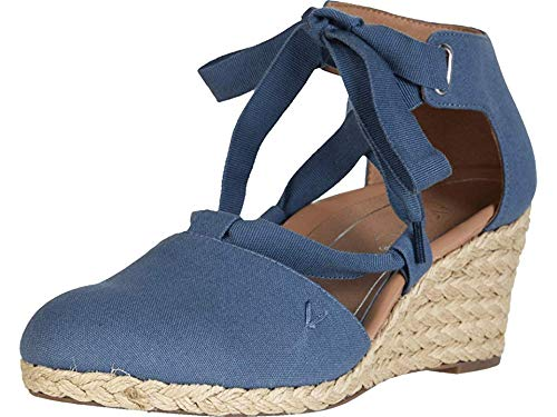 Vionic Women's Aruba Kaitlyn Lace-up Wedge - Ladies Espadrille Wedges with Concealed Orthotic Arch Support Denim 7 M US