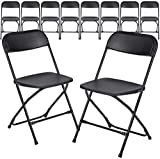 AJP Distributors 10 Pack 650 lb. Capacity Premium Plastic Folding Chairs Wedding Party Outdoor Indoor Office Meeting House Dinner Diner (Black)