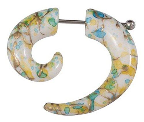 paletti Ohrring Spirale | Fake Expander Acryl | Farbe Türkis weiß gelb und Gold | Chirurgenstahl Stecker