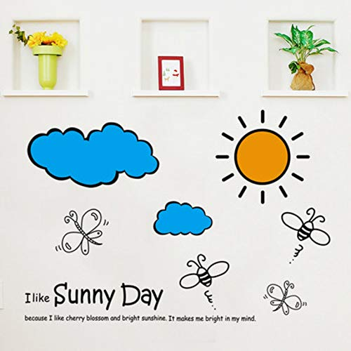 Sun Cloud Cartoon Kinderkamer Slaapkamer Slaapbank Tv Achtergrond Muursticker Kleuterschool Vroeg Leren Muursticker