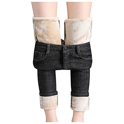 Winter Jeans Damen Gefüttert-High-Waist Thermojeans-Straight-Lang Fleece-Thermohose: Straight Leg Jeans Damen Hosen Jeans Modern Jeanshose Hüfthose Freizeithosen Thermohose Outdoor Sporthose