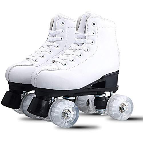 Mlightting@ Rollschuhe Weiche Kunstleder Classic High-Top Quad Rollschuhe Mit Beleuchteten Rädern, Classic Rollschuhe Für Erwachsene Und Jugendliche, Drinnen Und Draußen Verwendet - Weiß,40
