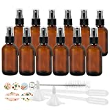 12 Pack (120 ml) 4oz Amber Glass Spray Bottles with Fine Mist Sprayer & Dust Cap for Essential Oils, Perfumes,Cleaning Products.Included 1 Brush,2 Funnels,2 Droppers & 18 Labels.