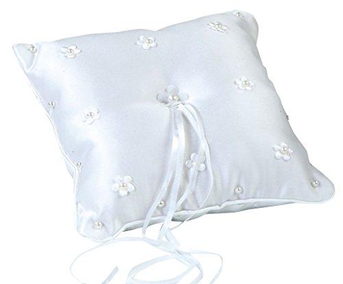 Mopec A12 – Ringkissen in weiß, Bestickt mit Blumen und Perlen, 1Stück