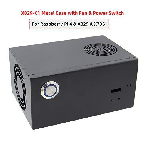 Geekworm X829 passendes Metallgehäuse, Netzschalter und Lüfter für Raspberry Pi 4B & X829 & X735