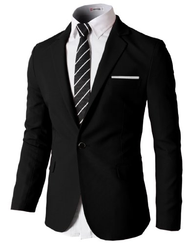 H2H Mens Casual Single One Button Blazer Jackets with Pocketchief Trim BLACK US XL/Asia 2XL (KMOBL046)