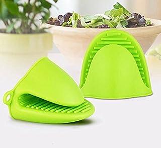 Veewon Silikon Topflappen Ofen Mini Handschuhe Kochen Pinch Griff Küche Hitze bis Lösung - 2 Stück Grün