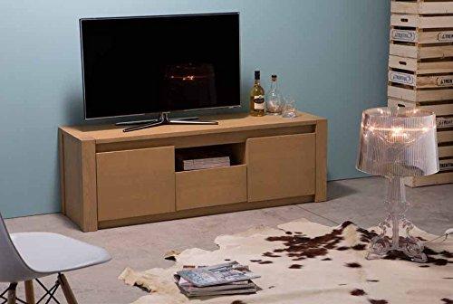 Legno&Design Porte TV en Bois Massif à Deux Portes et 1 tiroir avec Compartiment à Jour