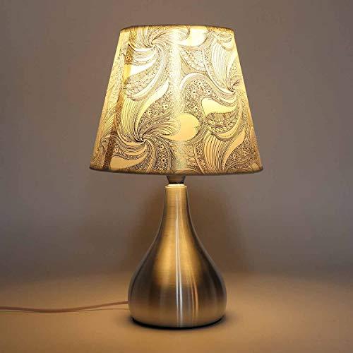 WLMT Lámpara de Escritorio LED Lámparas de Noche Modernas con lámparas de Mesa de Bombilla E27 para Dormitorio Estudio Decoración Sala de Estar Iluminación Luz Blanca (Body Color : Silver)
