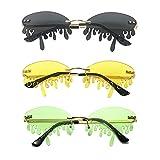 Dripping Sunglasses Sets Frame Rimless Sunglasses Novelty Trendy Designer Style Shades Sunglass Eyewear (Black,Green,Yellow)