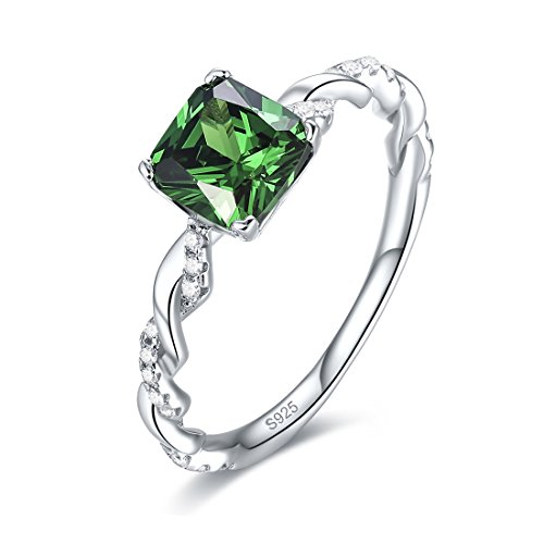 Merthus 925 Sterling Silver Rope Band Created Emerald Costume Jewelry Right Hand Ring for Women