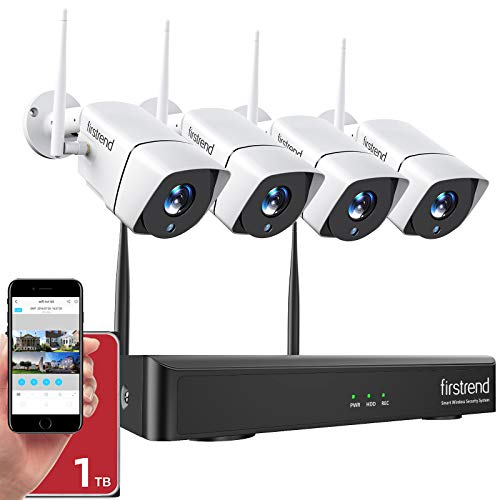 [Newest] Security Camera System Wireless, Firstrend 1080P Wireless Home Security Systems with 4pcs Cameras 8CH NVR 1TB Hard Drive Motion Alarm Night Vision Waterproof Outdoor Indoor Surveillance Kits NVR Surveillance