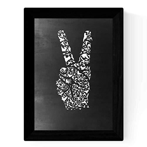 Afdrukken in zwart-wit vrede A3-formaat posters met zwarte krijtbordstijl achtergrond. 250 gr papier en hoogwaardige inkten.