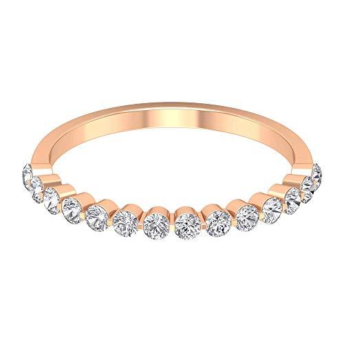 0,42 ct zertifizierter Moissanit Gold Ehering, einzigartiger Partywear Arbeitskleidung Ring, DE-VS1 Farbe Klarheit Edelstein Frauen Ring, 14K Roségold, Size:EU 61