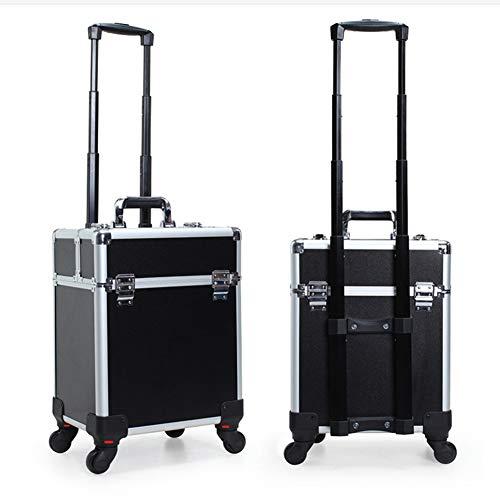 CXQD-Kosmetiktasche, tragbar, mehrschichtig, 360 ° Universalrad, große Kapazität, Nagelsalon, Tattoo Beauty-Kit, plastik, Schwarz, Large
