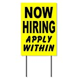 Now Hiring Sign - 18 inch x 12 inch Yard Sign - Help Wanted Sign - Employer Store Job Fair Sign - Now Hiring Signs For Business Outdoor - Help Wanted Sign - Employment Applications Jobs Sign