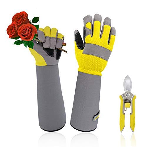 Jardineer Rose Gloves & Trimming Scissors Set, Thornproof Gardening Gloves with Adjustable Velco, Long Sleeve Rose Pruning Gloves, Women's M