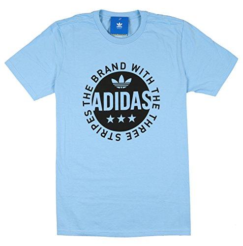 adidas Herren Circle Star Logo T-Shirt Medium Clear Blue Black