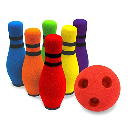 """Move-It Development Kids Bowling Set, Designed for Extended Play with """"Playbook"""", for Toddlers (6 Bowling pins & 1 Ball), Carnival Party Games, Bowling Slip and Slide, Kids Ball Set"""