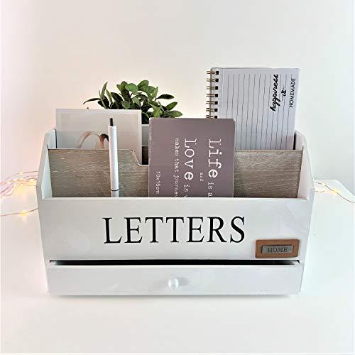 Pratico organizer da scrivania con 3 scomparti in legno, 1 cassetto portalettere e mensola per la posta, realizzato in stile Shabby, colore: bianco e naturale