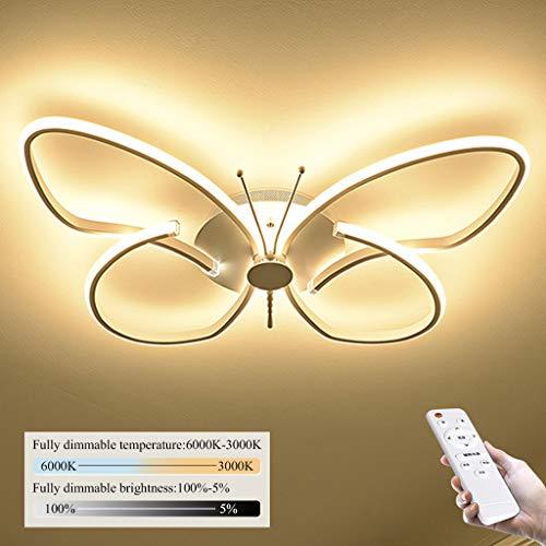 Modern LED Deckenleuchte Wohnzimmer Leuchte Weiß Schmetterling Design Deckenlampe Minimalistische Acryl Metall Schlafzimmer Kinderzimmer Restaurant Dekor Innen Beleuchtung,Dimmable,64cm/46W