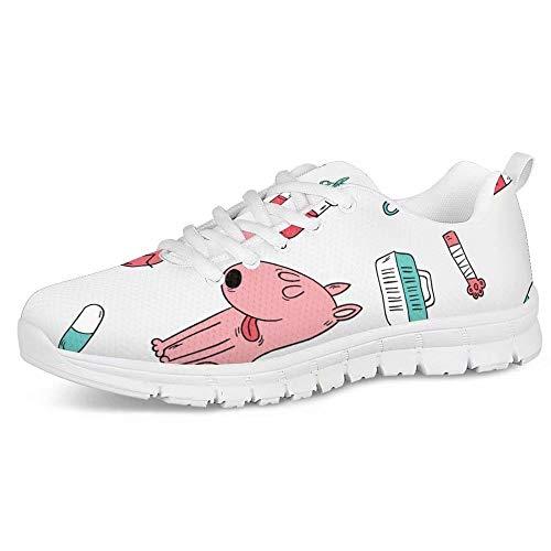 Polero - Zapatillas de enfermera con diseño de historieta y osos, zapatillas deportivas para mujer, para correr, caminar, con cordones talla EU 36-41, color, talla 35 EU