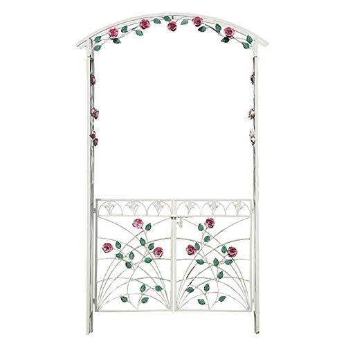 AAQQ Rosenbogen aus Metall, Gartenbogen mit Tür, Verziert mit Blättern und Blumen, 128x41x217cm, gartenlaube (Weiß)