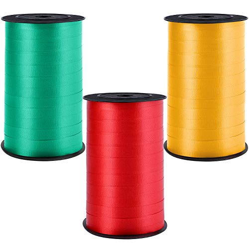 Elcoho 3 Rolls Christmas Curling Ribbon Balloon Ribbon 0.4 Inch Wide by 300 Yard Spools Red, Dark Green, Gold Gift Wrapping Ribbon for Christmas Parties Wedding Festival Holiday Florist Crafts