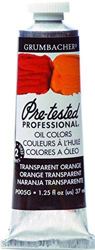 Grumbacher Pre-Tested Oil Paint, 37ml/1.25 oz., Transparent Orange (P005G)