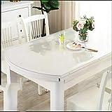 WLF-didina Rechteckiger Abdeckungsschutz, Tischdecke aus transparentem PVC-Kunststoff, geeignet für Esstisch, Schreibtisch, 6 Größen, 3 Stärken,2.0mm,80 * 120CM