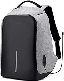 Anti theft Grey laptop backpack with USB charge waterproof bag