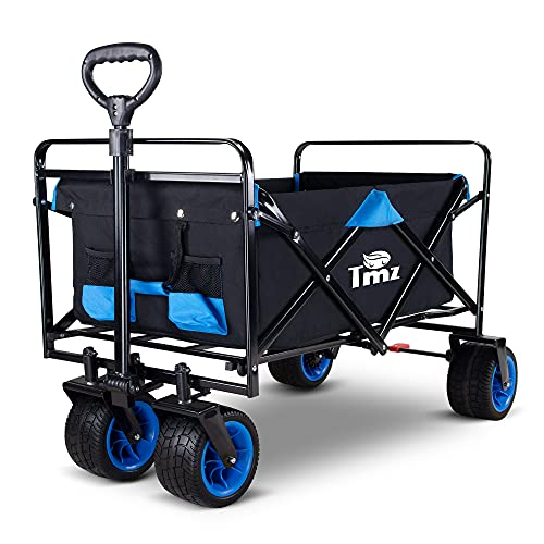TMZ All Terrain Utility Folding Wagon, Collapsible Garden Cart, Heavy Duty Beach Wagon, for...