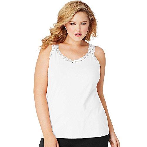 Just My Size Women's Plus Size Stretch Jersey Lace Trim Tank, White, 3X