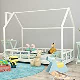 Warmiehomy Children Bed Frame with Safety Guardrail, Treehouse Style Solid Pine Wood White Single Toddler Bed Kids Bedroom Furniture for Girls and Boys Fit Mattress 160 x 80cm